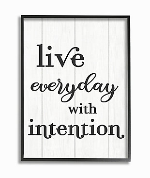 Live Everyday With Intention Quote 24x30 Black Frame Wall Art, White, large