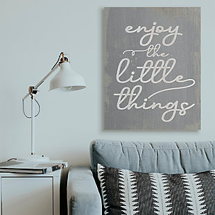 Enjoy The Little Things Phrase 36x48 Canvas Wall Art, Gray, rollover