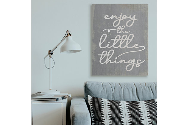 Enjoy The Little Things Phrase 36x48 Canvas Wall Art, Gray, large
