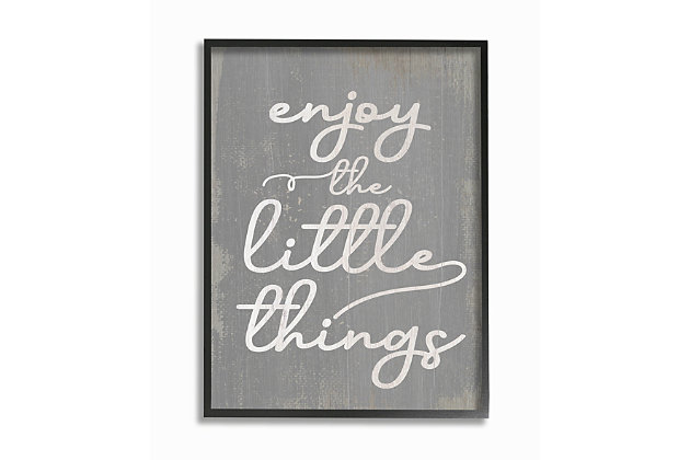 Enjoy The Little Things Phrase 16x20 Black Frame Wall Art, , large