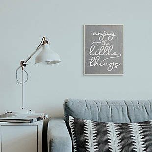 Enjoy The Little Things Phrase 13x19 Wall Plaque, Gray, rollover
