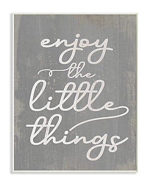 Enjoy The Little Things Phrase 13x19 Wall Plaque, Gray, large