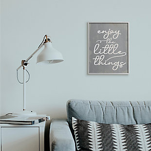 Enjoy The Little Things Phrase 16x20 Gray Frame Wall Art, Gray, rollover