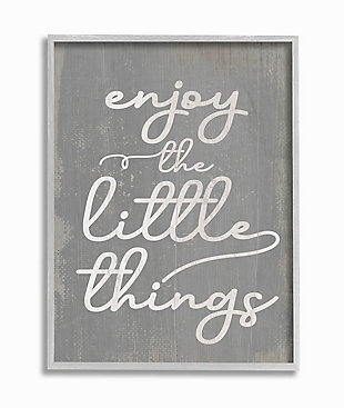 Enjoy The Little Things Phrase 16x20 Gray Frame Wall Art, Gray, large