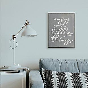 Enjoy The Little Things Phrase 24x30 Black Frame Wall Art, Gray, rollover