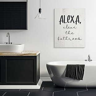 Modern Day Clean the Bathroom Sign 36x48 Canvas Wall Art, White, rollover