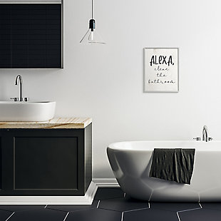 Modern Day Clean the Bathroom Sign 16x20 Gray Frame Wall Art, White, rollover