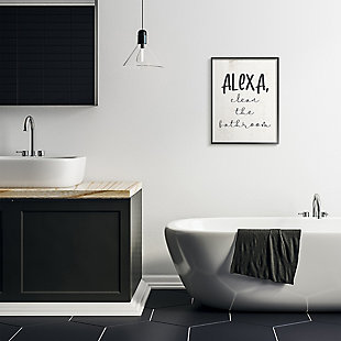 Modern Day Clean the Bathroom Sign 24x30 Black Frame Wall Art, White, rollover