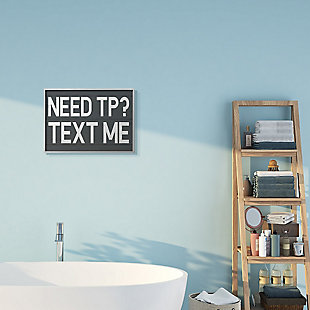 Text Me for TP Rustic Inspired Bathroom Sign 16x20 Gray Frame Wall Art, Gray, rollover