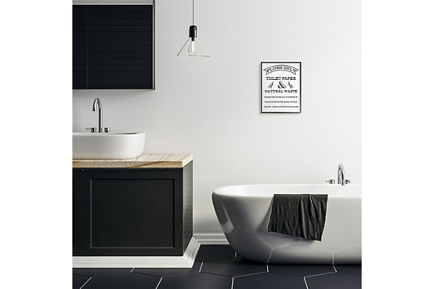 Flush Only Toilet Paper Rustic Bathroom Sign 11x14 Black Frame Wall Art, White, large