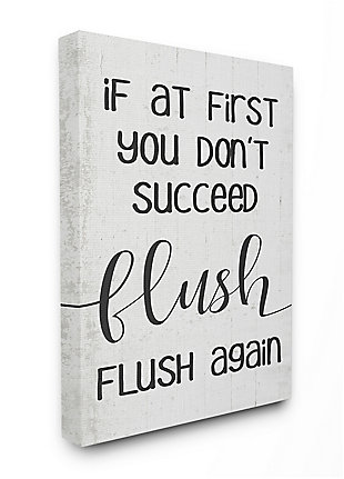 If You Don't Succeed Flush Again 36x48 Canvas Wall Art, White, large