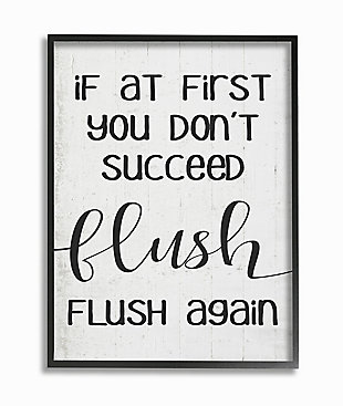 If You Don't Succeed Flush Again 24x30 Black Frame Wall Art, White, large