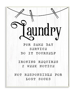 Family Laundry Room Service 13x19 Wall Plaque, White, large