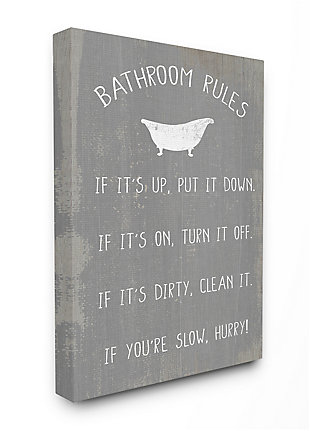 Countryside Bathroom Rules Sign 36x48 Canvas Wall Art, Gray, large