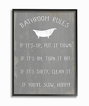 Countryside Bathroom Rules Sign 24x30 Black Frame Wall Art, , large