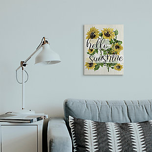 Vintage Painted Sunflowers with Hello Sunshine 16x20 Canvas Wall Art, , rollover