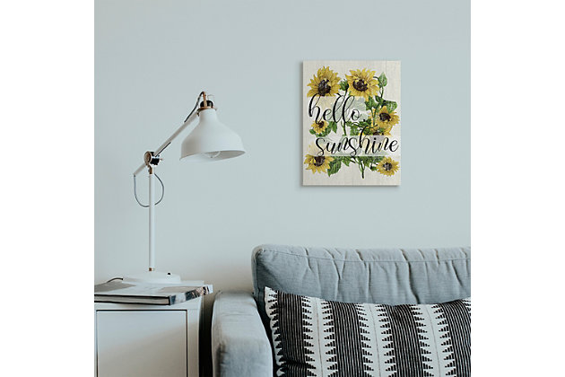 Vintage Painted Sunflowers with Hello Sunshine 16x20 Canvas Wall Art, , large