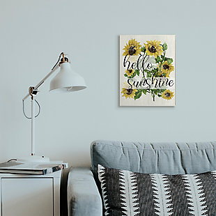 Vintage Painted Sunflowers with Hello Sunshine 13x19 Wall Plaque, Multi, rollover