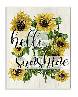 Vintage Painted Sunflowers with Hello Sunshine 13x19 Wall Plaque, Multi, large