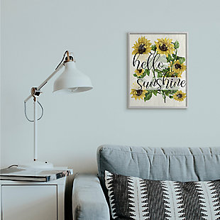 Vintage Painted Sunflowers with Hello Sunshine 16x20 Gray Frame Wall Art, , rollover