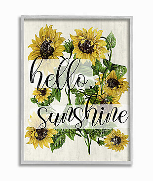 Vintage Painted Sunflowers with Hello Sunshine 16x20 Gray Frame Wall Art, , large