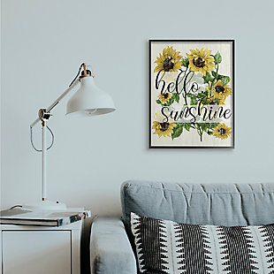 Vintage Painted Sunflowers with Hello Sunshine 24x30 Black Frame Wall Art, Multi, rollover