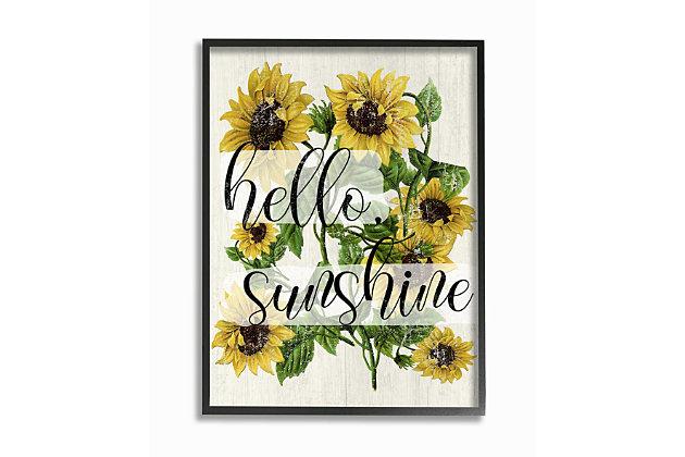 Vintage Painted Sunflowers with Hello Sunshine 24x30 Black Frame Wall Art, Multi, large