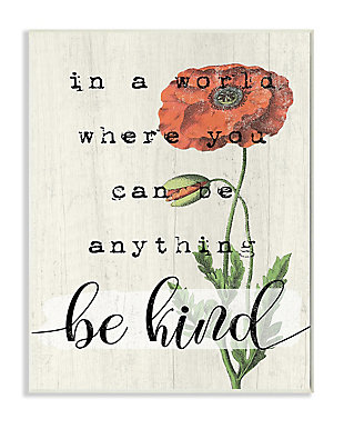 Be Kind Phrase Motivational Attitude 13x19 Wall Plaque, Beige, large