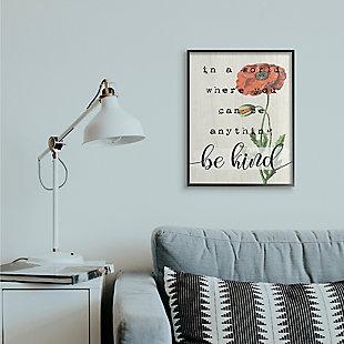 Be Kind Phrase Motivational Attitude 24x30 Black Frame Wall Art, Beige, rollover