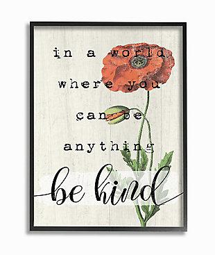 Be Kind Phrase Motivational Attitude 24x30 Black Frame Wall Art, Beige, large
