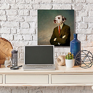 Dalmatian In Men's Fashion Family Pet 36x36 Canvas Wall Art, Multi, rollover