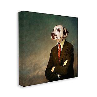 Dalmatian In Men's Fashion Family Pet 36x36 Canvas Wall Art, Multi, large