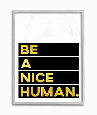 Be a Nice Human Quote 16x20 Gray Frame Wall Art, White/Black, large