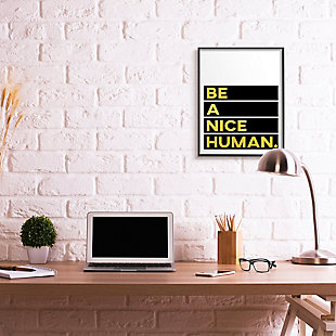 Be A Nice Human Quote 24x30 Black Frame Wall Art, White/Black, rollover
