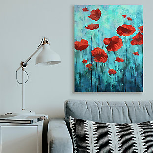 Red Poppies Growing In Blue Sky 36x48 Canvas Wall Art, Blue, rollover