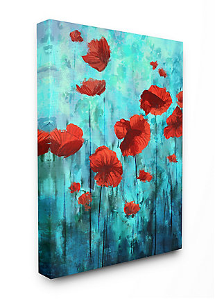 Red Poppies Growing In Blue Sky 36x48 Canvas Wall Art, Blue, large