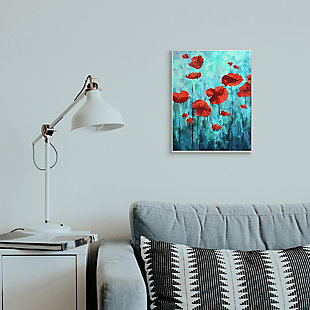 Red Poppies Growing in Blue Sky 13x19 Wall Plaque, Blue, rollover