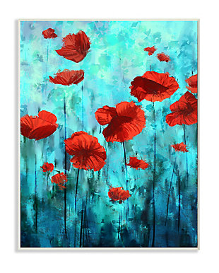 Red Poppies Growing in Blue Sky 13x19 Wall Plaque, Blue, large