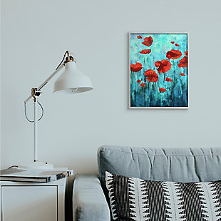 Red Poppies Growing in Blue Sky 16x20 Gray Frame Wall Art, Blue, rollover