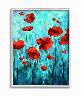 Red Poppies Growing in Blue Sky 16x20 Gray Frame Wall Art, Blue, large