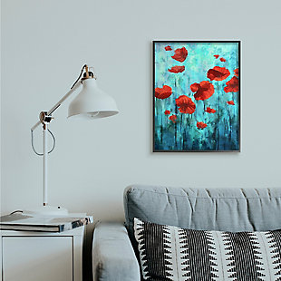 Red Poppies Growing in Blue Sky 24x30 Black Frame Wall Art, Blue, rollover