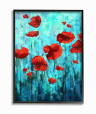 Red Poppies Growing in Blue Sky 24x30 Black Frame Wall Art, Blue, large