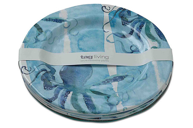 Home Accents Octopus Melamine Dinner Plates (Set of 4) by...