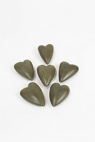 Set of Six Hand Carved Stone Hearts - Dark Gray, , large