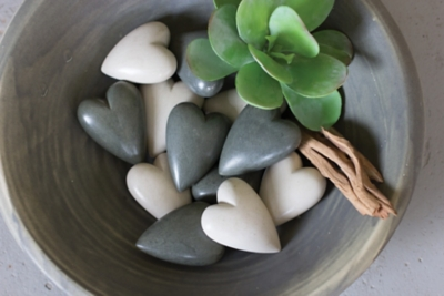 Set of Six Hand Carved Stone Hearts - Light Gray, , large