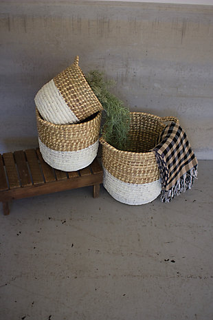 Set of Three White Dipped Seagrass Hampers with Handles, , large