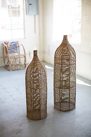 Set of Two Large Seagrass and Iron Bottles, , rollover