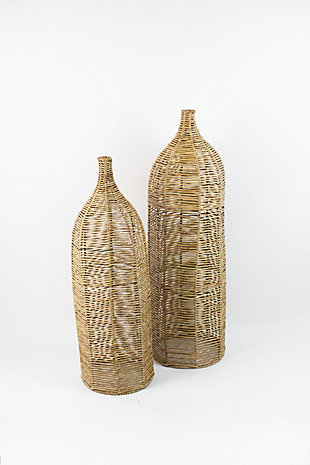 Set of Two Large Seagrass and Iron Bottles, , large
