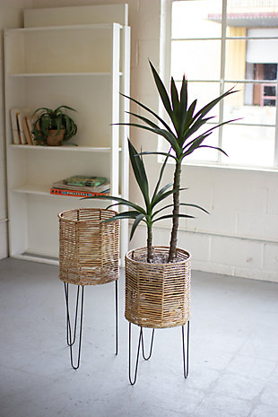 Set of Two Round Seagrass Planters with Iron Bases, , rollover