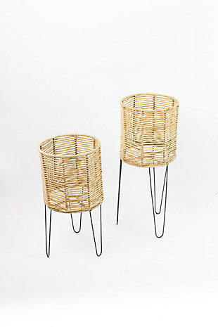 Set of Two Round Seagrass Planters with Iron Bases, , large